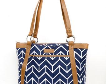Women's Laptop Bag in Navy Arrow Chevron - Laptop Bag, Laptop Tote, Canvas and Vegan Leather
