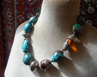 Tribal Blues necklace. Turquoise beads, Tibetan vintage amber resin beads CLEARANCE