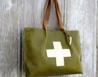 Distressed Green Leather Swiss Army Cross Bag by Stacy Leigh
