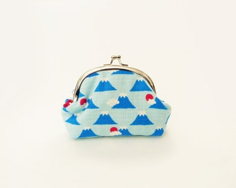 Coin purse, blue and red Mount Fuji fabric, novelty cotton pouch