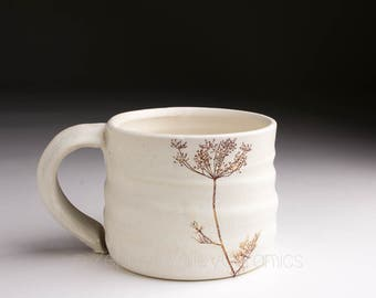 Ceramic Coffee Cup - White Stoneware Mug- Tea Cup - Pottery Coffee Mug
