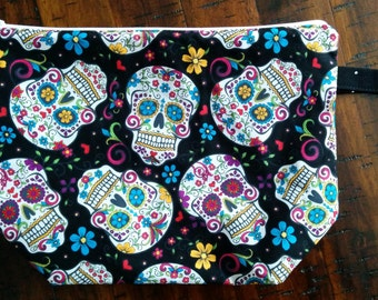 sugar skull zippered project bag FREE SHIPPING to US addresses