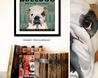 English Bulldog dog Brewing Company illustration UNFRAMED signed artists print by stephen fowler Pick A Size