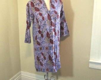 Purple Butterfly tunic dress 60s hand print Vintage 1960s Kaftan India Blockprint Caftan dress hippie boho Angel sleeves S M