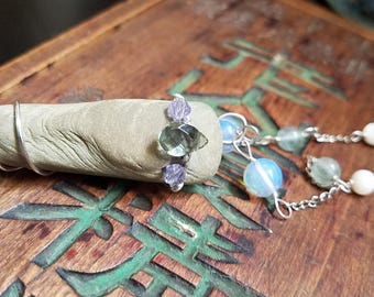Skipping Stones - topaz fluorite mother of pearl sea opal crystal lake rock silver wire wrapped