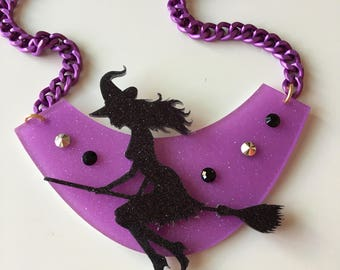 bib WITCH laser cut acrylic necklace