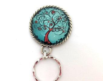 Magnetic Eyeglass Holder -  Red Tree of Life on Blue Photoglass Cabochon