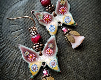 Butterflies, Flowers, Enamel Earrings, Torched Enamel, Vintage, Flowers, Artisan Made, Earthy, Organic, Beaded Earring