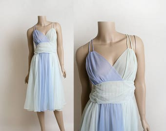 Vintage 1960s Nightgown Slip Dress - Sheer Pastel Lilac Sky Blue Powder Mint - Vanity Fair - Ombre Effect - Colorblock - Large Medium