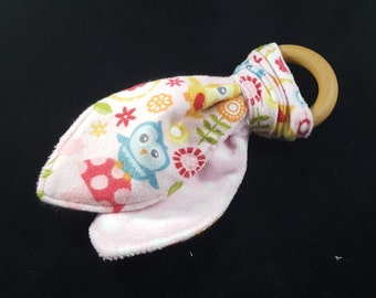 Wooden Teething Ring with Crinkle and Minky, Bunny Ear Teether, All Natural