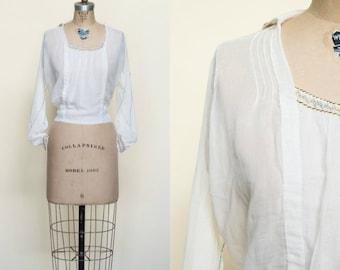 Edwardian Boho Blouse --- 1920s Cotton Top
