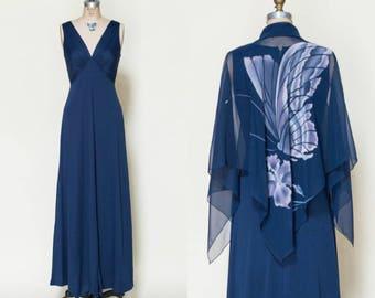 1970s Maxi Dress --- Vintage Long Navy Dress
