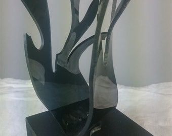 Vintage Modernist Black Lucite Abstract Art Sculpture on Wood Stand 1960's