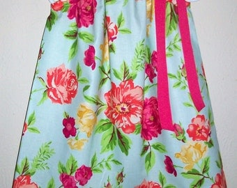 Pillowcase Dress with Flowers, Girls Dresses for Summer, Spring Dresses, Summer Dress, Floral Dress, Colorful Flowers Spring Outfit Sundress