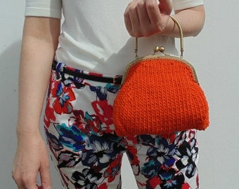 Cute Evening Purse, Orange Cotton Bag, Small Knitted Clutch Purse, Knitted Women Handbag, Summer Bag, Top Handles Bag, Ready to Ship