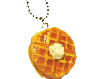 Belgium Waffle Necklace - Waffle necklace - waffle jewelry - breakfast jewelry - breakfast - waffle - food jewelry - food necklace - clay