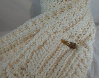 Extra Long Chunky Crochet Scarf with button Pocket, Crocheted Cream Scarf, Winter accessories