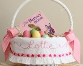 Personalized Easter Basket, Girl Easter Basket Liner, Monogrammed Easter Basket, fits SMALL or LARGE Pottery Barn Kids Sabrina, Bunny Ribbon