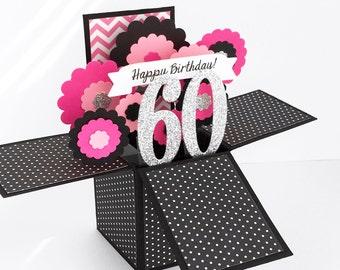 Pop Up Milestone Birthday Card, 60th Birthday Card, Keepsake Birthday Card, Custom Birthday Card - Choose Any Age - 30th, 40th, 50th, 70th