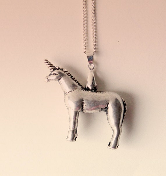 "Unicorn necklace, Silver pendant, Vintage unicorn pendant, Whimsical jewelry, Gift for her, Silver unicorn on chain - 18"" chain"
