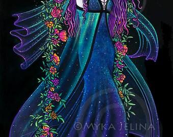 SALE - Iris Myka Jelina Original Acrylic Painting Rainbow Flower Nebula Night Star Fairy Swing