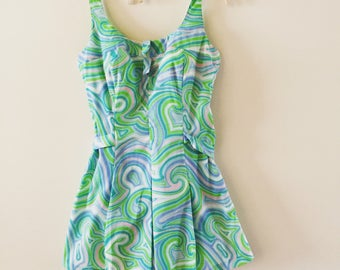 Vintage Bathing Suit 1960s Psychedelic Playsuit one piece plus size