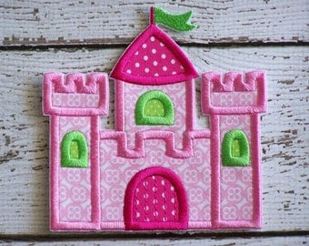 Girls Iron On Or Sew On Applique - Princess Castle