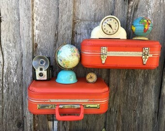 Pair of Wall Shelves Made of from a Small Vintage Bright Orange Tangerine Upcycled Suitcase Luggage Repurposed into Wall Shelves