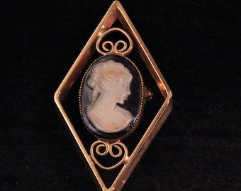 Vintage Goldtone, Black and Cream Cameo Pin or Broach