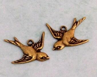 Bird Charm, Brass Ox, Trinity Brass, 1 Pair, AB81