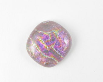 Dichroic Fused Glass Cabochon - Lavender Pink - 1730 - 21.5mm x 21mm