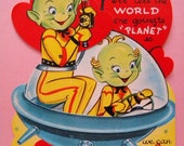 XL Unused Vintage Valentines Day Card Mechanical Martians in a Space Ship
