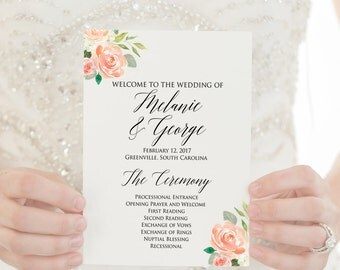 Wedding Programs, PRINTED Programs, Wedding Ceremony Programs, Order of Service, Rustic Program, 5x7 Panel Program, Wedding Party, Garden