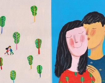 Romantic story 2 tiny original paintings , wall decor