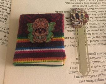 Miniature Sugar Skull Journal & Metal BookMark FREE US Shipping