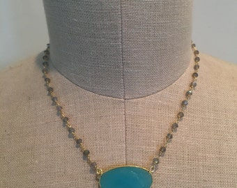 Ocean Blue Chalcedony Connector and Labradorite Stone Chain Necklace
