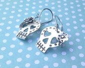 Day Of The Dead Skull Calavera Earrings,  Sterling Silver, Handmade Dia de los Muertos  Mexican Jewelry