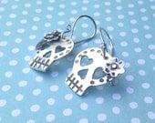 Day Of The Dead Skull Calavera Earrings,  Sterling Silver, Handmade Dia de los Muertos  Mexican Jewelry