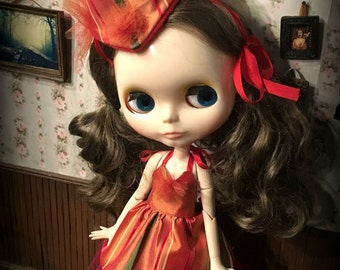 Blythe Clown Outfit, circus dress, tulle petticoat, clown hat and socks, orange and maroon striped silk