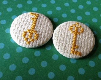 Golden Key Cross Stitch Pin Badge