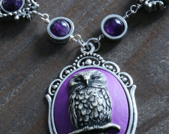 Owl Necklace, Owl pendant, Amethyst Necklace, Beautiful Purple Cameo, February Birthstone, Silver tone