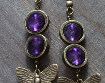 Steampunk Earrings - Natural Amethyst and Brass Butterflies Charms