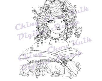 Butterfly Charm - Instant Download Digital Stamp / Japanese Kimono Rose Coloring Art Fairy Girl by Ching-Chou Kuik