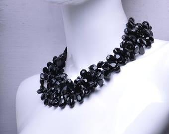 Black Onyx Three Strand Gemstone Statement Necklace