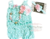 Baby Lace Romper Headband Necklace SET, Baby Birthday Cake Smash Outfit Pink Teal Aqua Blue Infant Party Outfit, Ruffled Lace Petti Romper