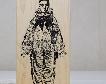Rubber Stamp, Harlequin Clown by Acey Deucy