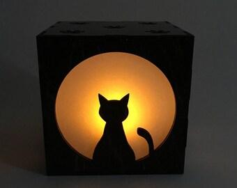Cat Candle Box, Wood Lantern, Cat Lantern, Candle Votive, LED Candle, Tea Light, Home Decor, Light Box, Wood Nightlight, Gift For Her