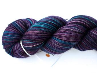Blueberry Buckle--hand dyed sock yarn, Yak, Merino and Nylon, (437yds/100gm)