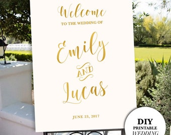 Wedding Signs, Welcome Wedding Sign, Gold Foil Wedding Sign, Chalkboard Wedding Sign, DIY Wedding Sign, Wedding Welcome Sign, DIY Printable