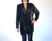 RESERVED! Benedicte, 90s Jewel Tone Velvet Blouse, Green Purple Burnout Velvet Jacket, Sheer Velvet Blouse, Vintage Velvet Tunic Top L